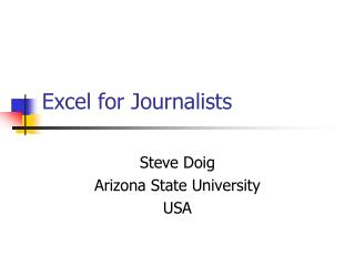 Excel for Journalists