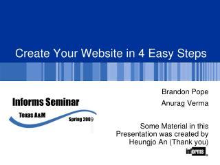 Create  Y our Website in 4 Easy Steps