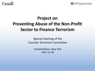 Project on Preventing Abuse of the Non-Profit Sector to Finance Terrorism
