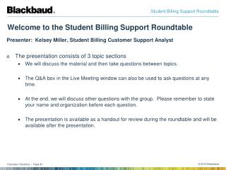 Welcome to the Student Billing Support Roundtable