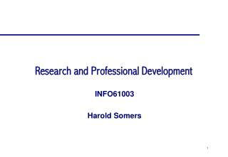 Research and Professional Development