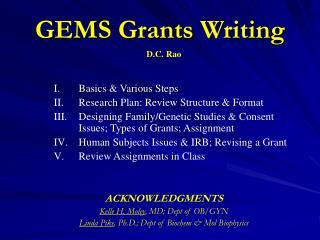 GEMS Grants Writing