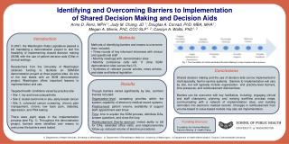 Identifying and Overcoming Barriers to Implementation  of Shared Decision Making and Decision Aids