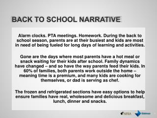 Back to school Narrative