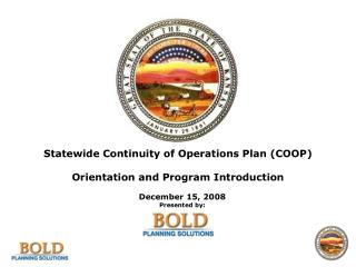 Statewide Continuity of Operations Plan (COOP) Orientation and Program Introduction