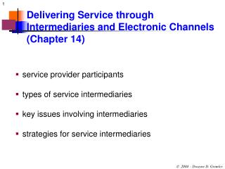 Delivering Service through Intermediaries and Electronic Channels             (Chapter 14)