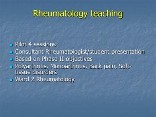 Rheumatology teaching