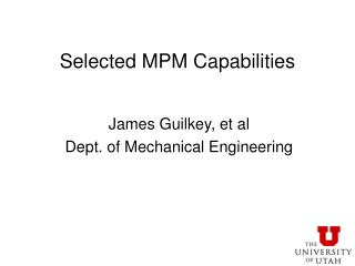 Selected MPM Capabilities