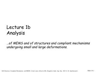 Lecture 1b Analysis