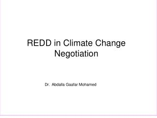 REDD in Climate Change Negotiation