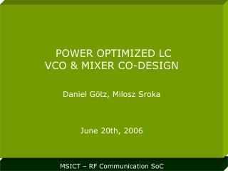 MSICT – RF Communication SoC