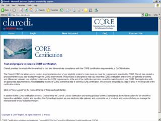 This will be a very quick snapshot of the Claredi CORE Certification Testing system.