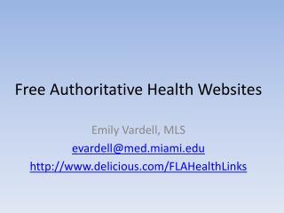 Free Authoritative Health Websites