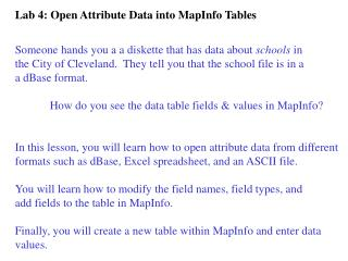 Lab 4: Open Attribute Data into MapInfo Tables