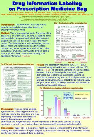 Drug Information Labeling on Prescription Medicine Bag