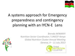 A systems approach for Emergency preparedness and contingency planning with an  IYCN-E  Lens