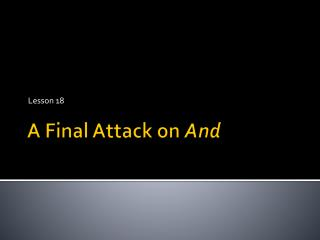 A Final Attack on  And
