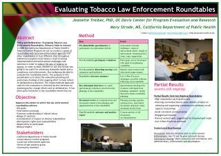 Evaluating Tobacco Law Enforcement Roundtables