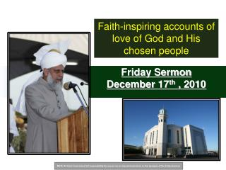 Friday Sermon December  17 th  ,  2010