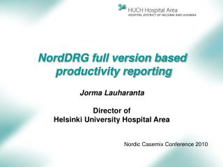 NordDRG full version based  productivity reporting