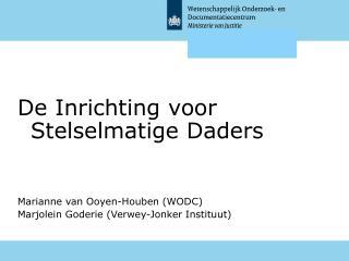 De Inrichting voor Stelselmatige Daders Marianne van Ooyen-Houben (WODC) Marjolein Goderie (Verwey-Jonker Instituut)