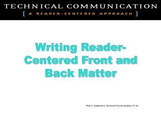 Writing Reader-Centered Front and Back Matter