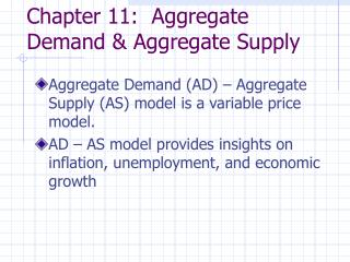 Chapter 11:  Aggregate Demand & Aggregate Supply