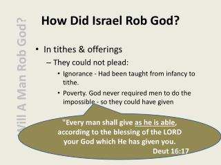 How Did Israel Rob God?