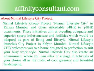 Nirmal Lifestyle Kalyan Rates @@91-9999684166 Nirmal City