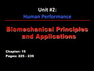 Unit #2: Human Performance