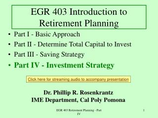 EGR 403 Introduction to Retirement Planning