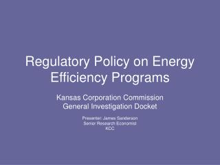 Regulatory Policy on Energy Efficiency Programs