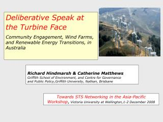 Deliberative Speak at the Turbine Face Community Engagement, Wind Farms, and Renewable Energy Transitions, in Australia