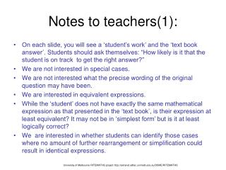 Notes to teachers(1):