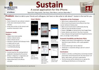 Evaluation of the Prototype 78% of users understand how to use Sustain 94% of users found Sustain more efficient than t
