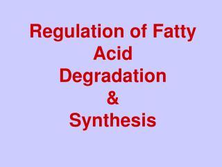 Regulation of Fatty Acid Degradation  & Synthesis