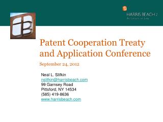 Patent Cooperation Treaty and Application Conference  September 24, 2012