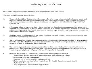 Please see this weeks session overleaf; themed this week around defending when out of balance. You may (if you haven't