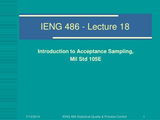 IENG 486 - Lecture 18