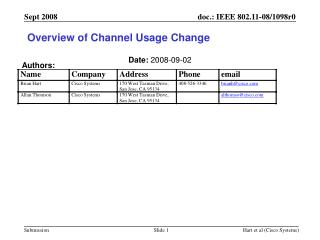 Overview of Channel Usage Change
