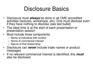 Disclosure Basics
