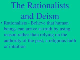 The Rationalists and Deism