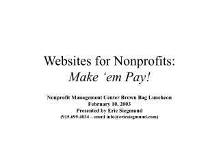 Websites for Nonprofits: Make 'em Pay!