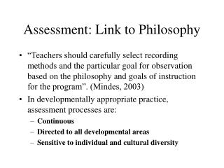 Assessment: Link to Philosophy