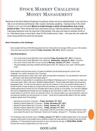 Stock Market Challenge Money Management