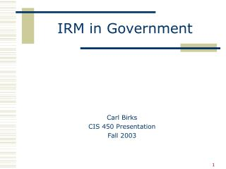 IRM in Government