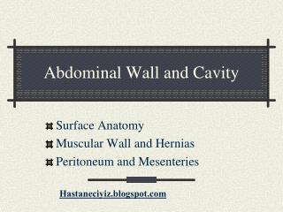 Abdominal Wall and Cavity