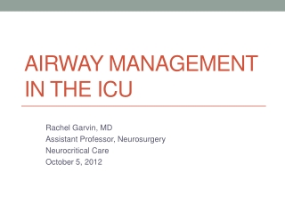 Airway Management in the ICU