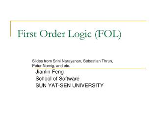First Order Logic (FOL)