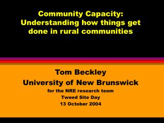 Community Capacity: Understanding how things get done in rural communities